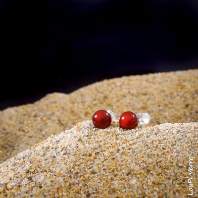 Collection les Perles du Golfe du Morbihan Clous Rouge Amour