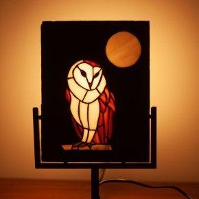 eclipse vitrail chouette lampe