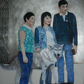 """""""Le loup kazakh"""" or gris et peinture à la colle de peau sur (...)"""