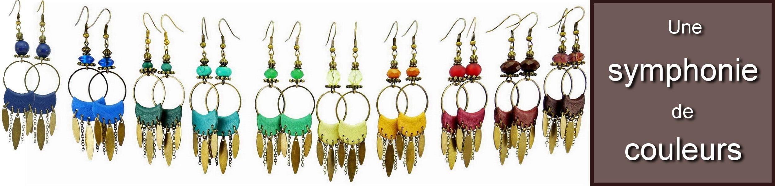 Boucles d oreilles cuir et metal bronze Collection BANJO